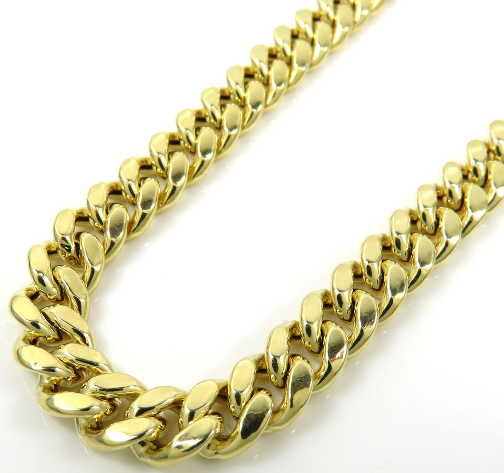 14k yellow gold hollow miami cuban link chain 18-24 inches 7.50mm