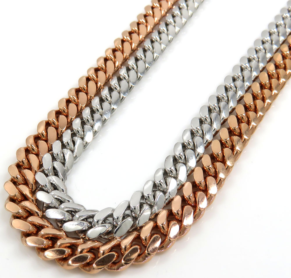 14k rose or white gold solid miami link chain 20-30 inch 6mm