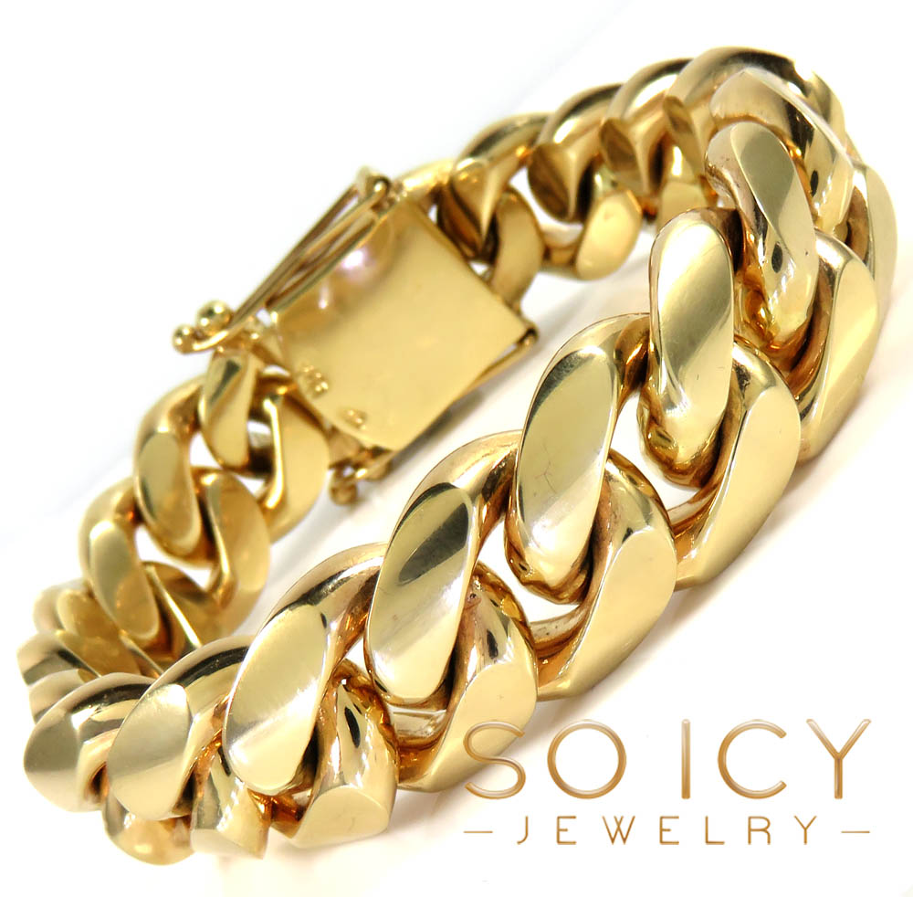 14k yellow gold solid xl miami bracelet 8.50 inches 18mm