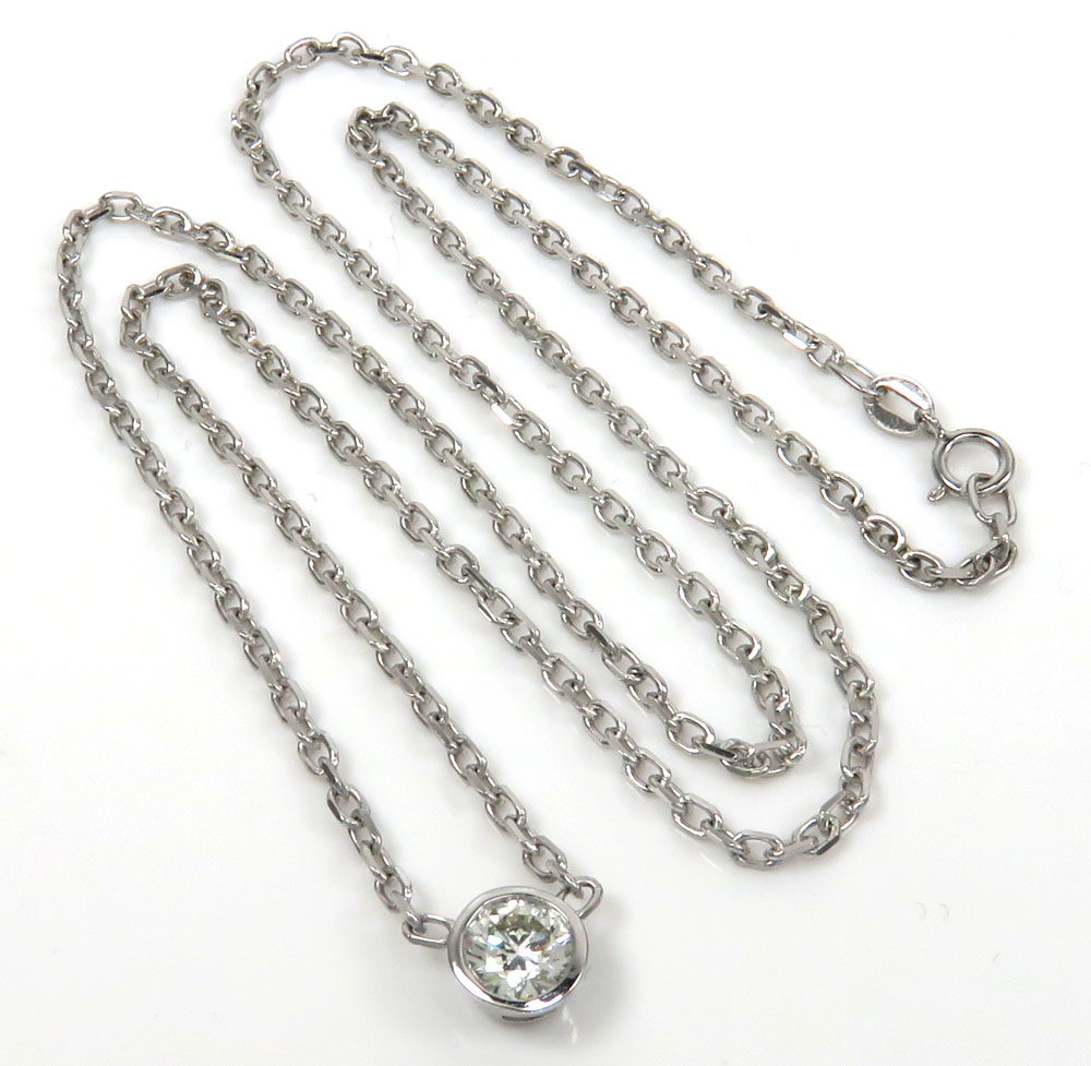 14k white gold bezel diamond cable link necklace 18 inch 0.50ct
