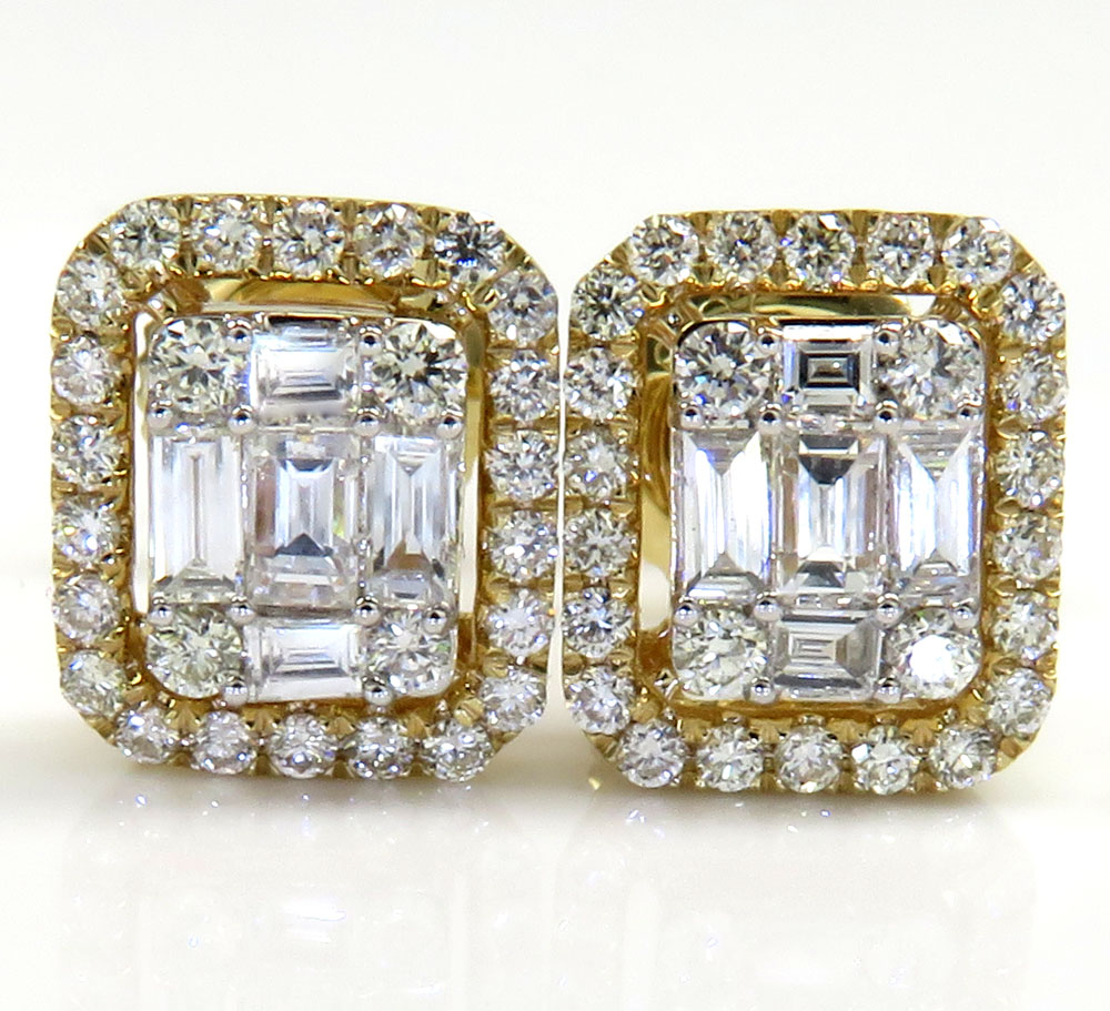 14k yellow white or rose gold large  diamond cluster baguette earrings 0.79ct