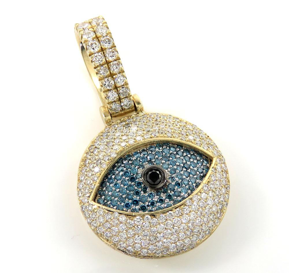 14k white yellow or rose gold vs diamond evil eye pendant 2.50ct