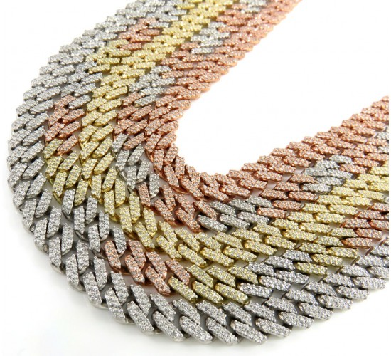 10k solid yellow gold diamond miami chain 22