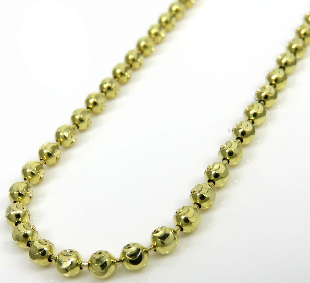 14k yellow gold moon cut bead chain 23