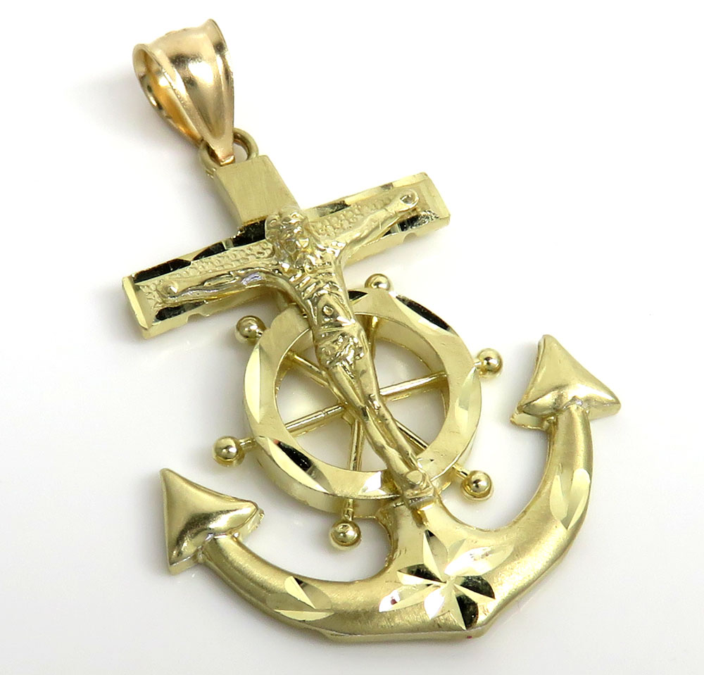 10k yellow gold solid medium diamond cut anchor jesus pendant
