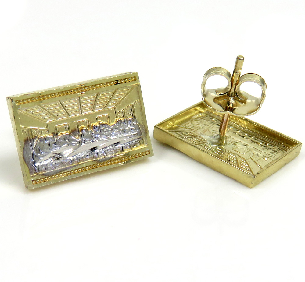 10k yellow gold small two tone jesus apostles last supper earrings