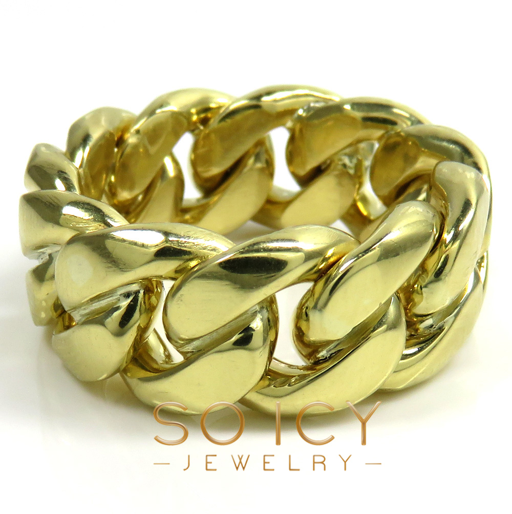 18k yellow or white gold 11mm solid miami link ring