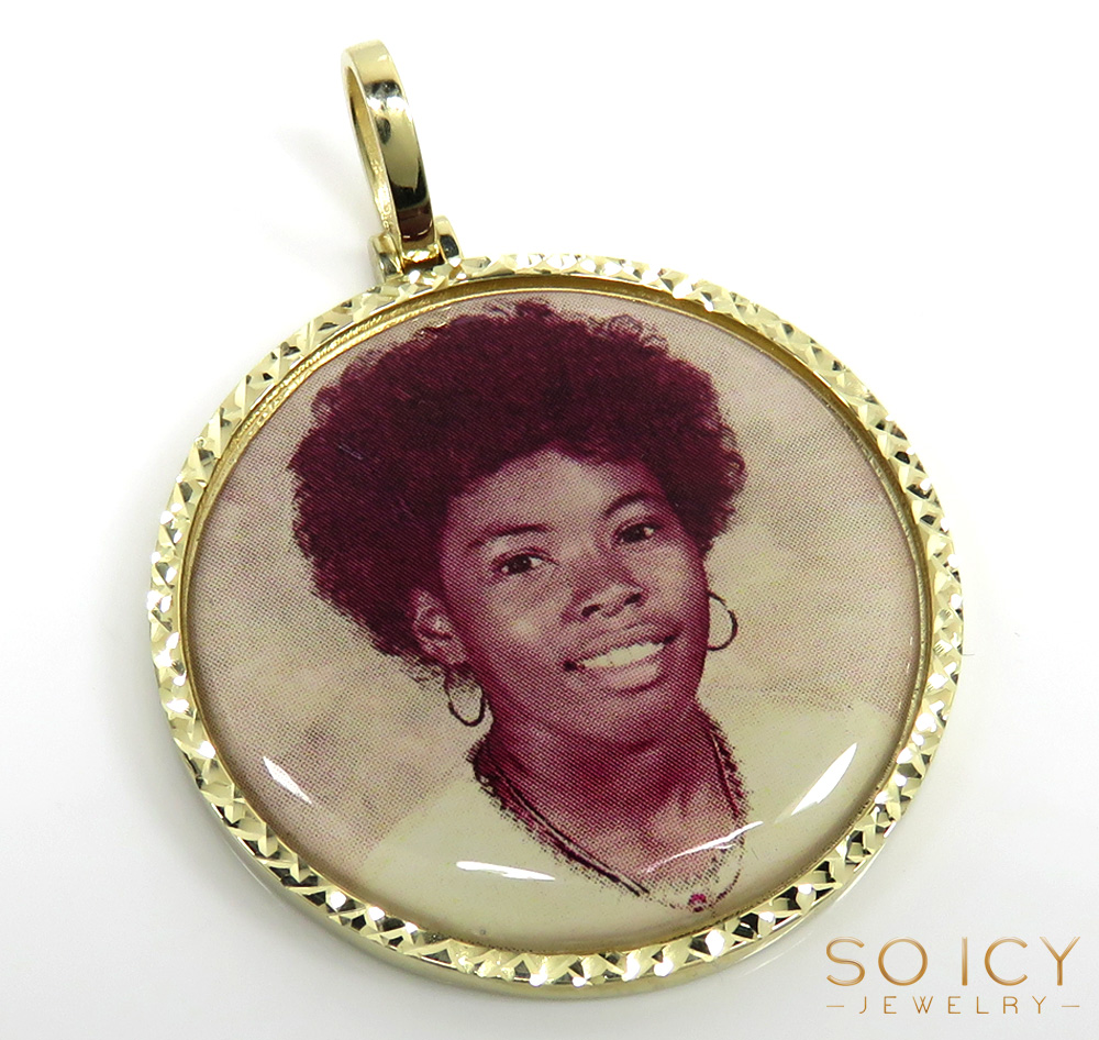 10k yellow, white, rose gold large double sided picture pendant