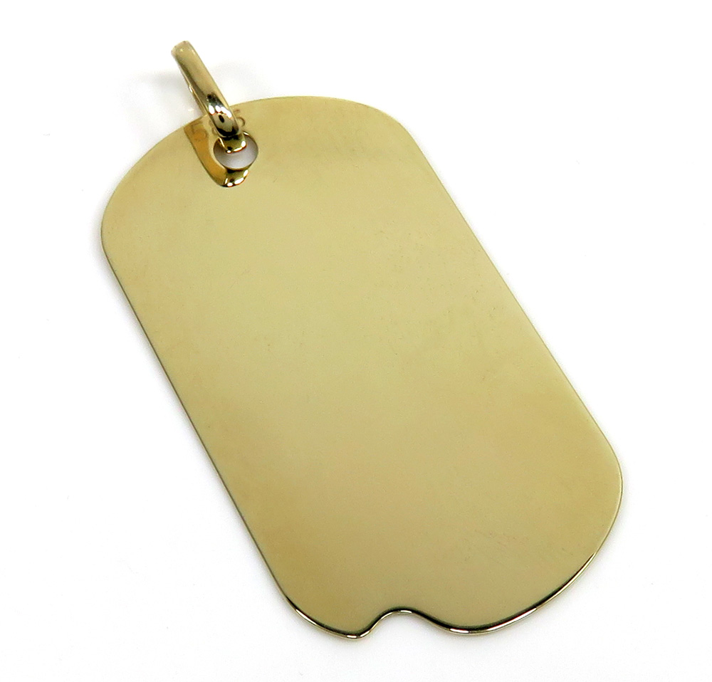 14k yellow gold large solid dog tag pendant