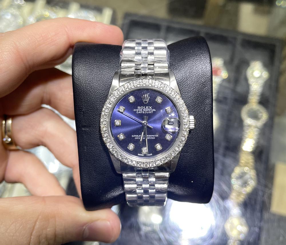 34mm rolex ladies datejust watch with 1.50 ct