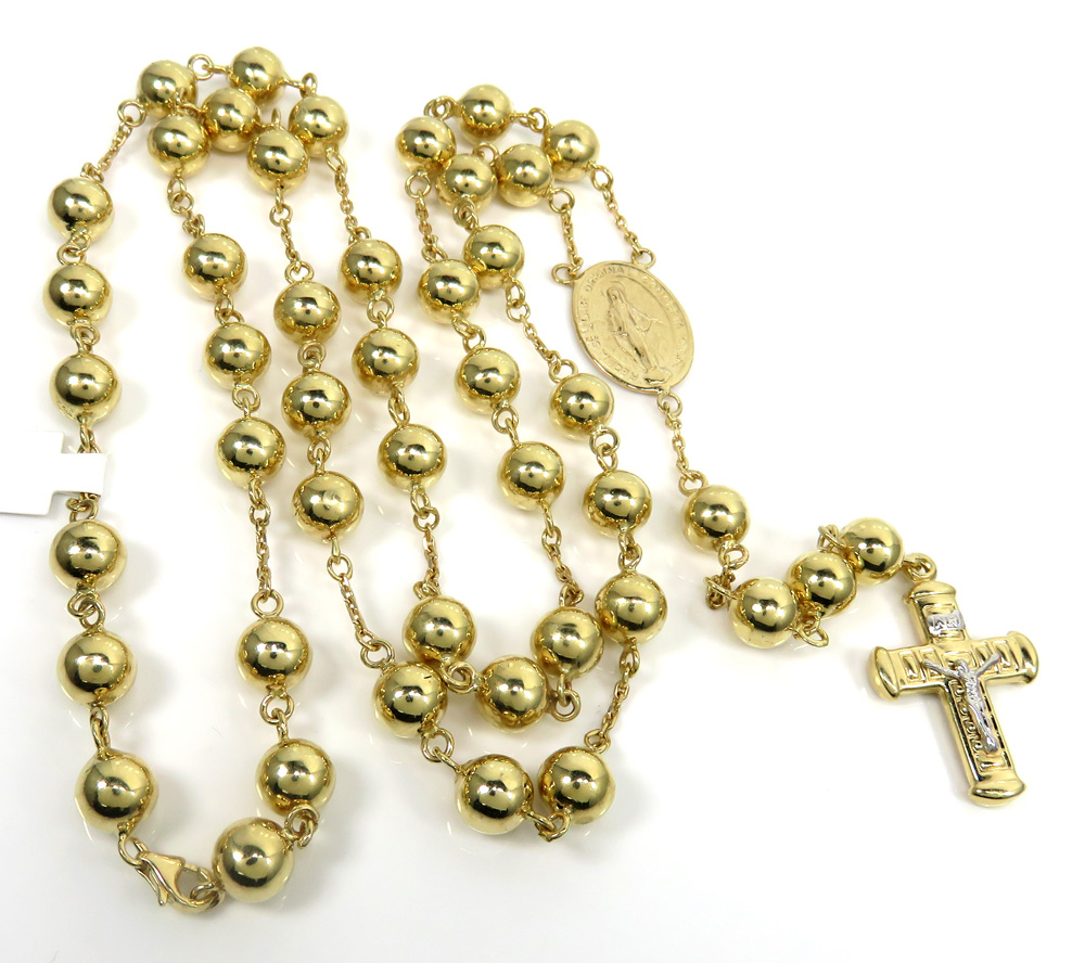 14k yellow gold xl smooth bead rosary chain 28 inch 8mm