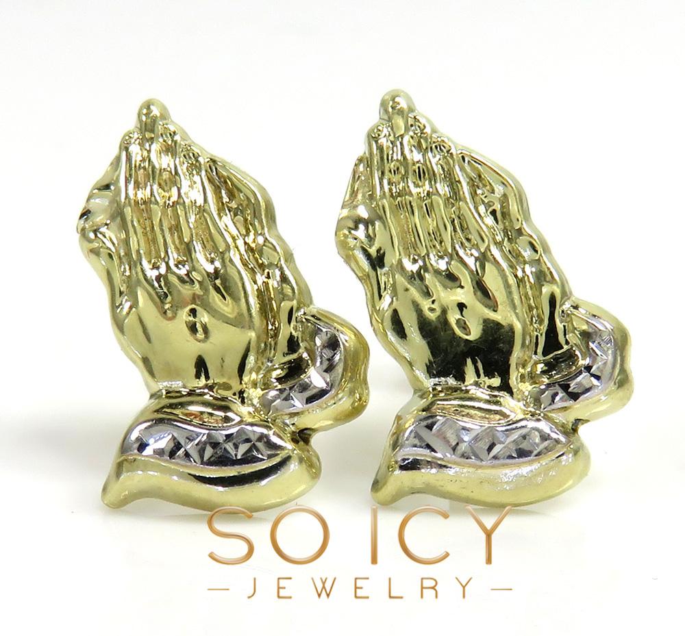 10k yellow gold mini praying hand earrings