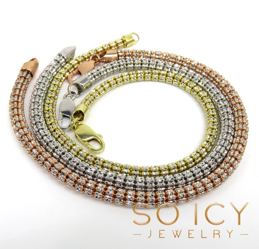 14k two tone gold diamond cut ice link bracelet 8.50