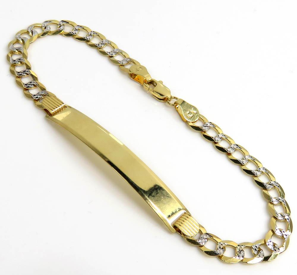 14k yellow gold diamond cut cuban id bracelet 8 inch 5.50mm
